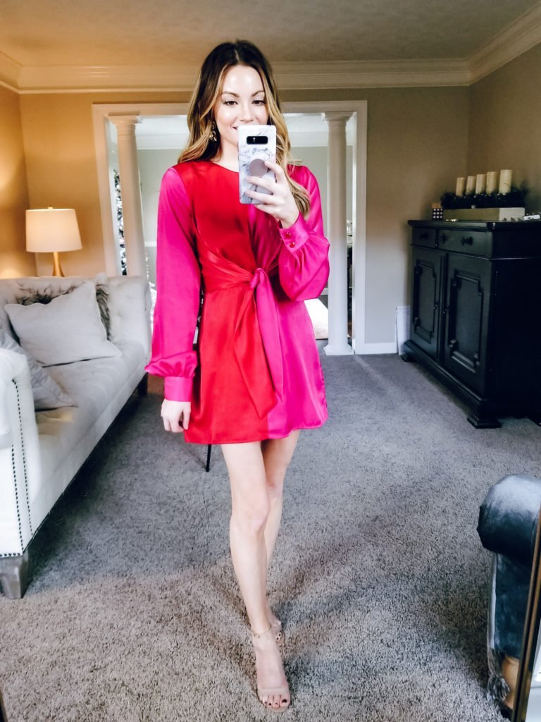 red and pink are perfect for the holiday dress