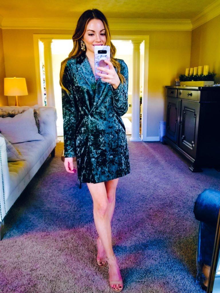 crushed velvet blazer dress