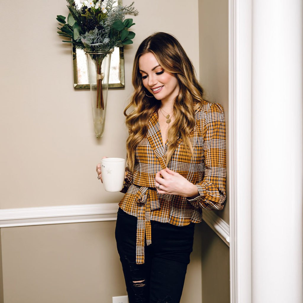 Long Sleeve Tie Front Top in mustard plaid
