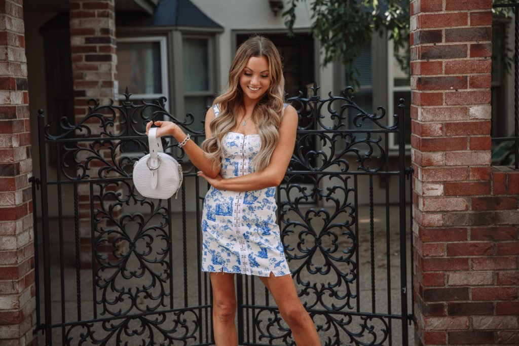 Blue and White Florals Print Dress
