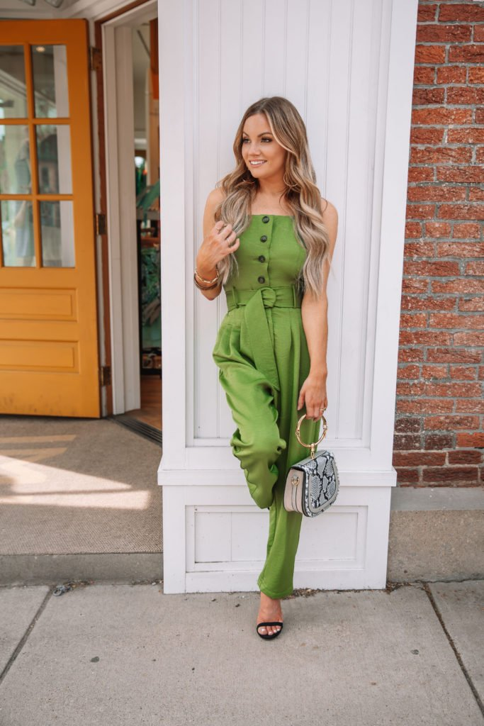 Green Summer Trend Belted Jumpsuits