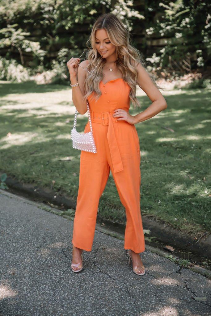 Summer Trend Belted Orange Jumpsuits